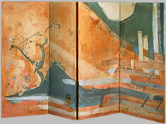 "Plum Tree, 1985, 44"" x 66"" (Four-Panel Folding Screen)"